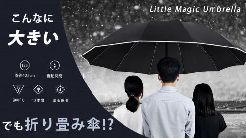 125cmのラージサイズ、風にも強く1年中大活躍のワンプッシュ折りたたみ傘。