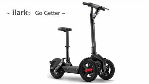 気軽に乗れる折畳式キックボード型三輪モーターサイクル